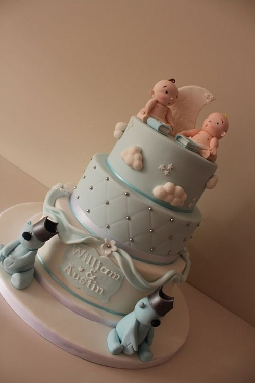 Babies and Bears Christening Cakes for Twins