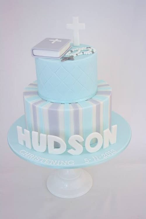 Bible with Rosary Blue Christening Cakes for Boys
