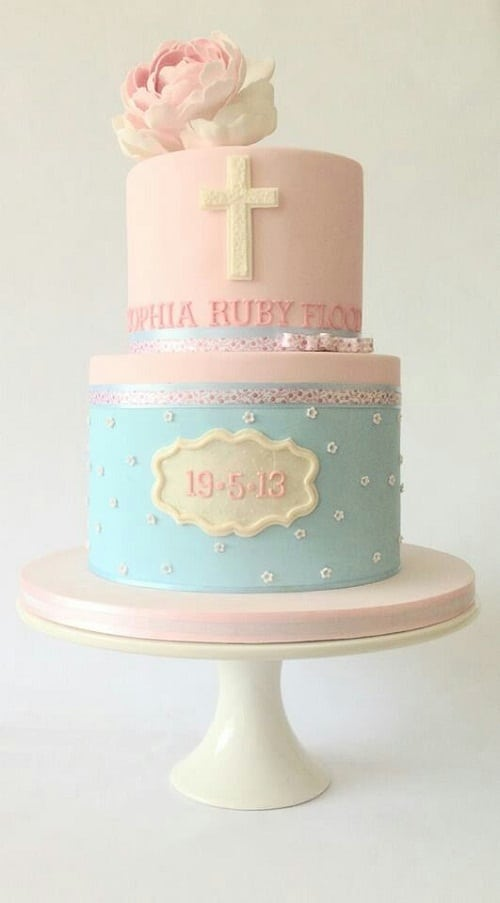Blue and Pink Fondant Christening Cakes for Girls