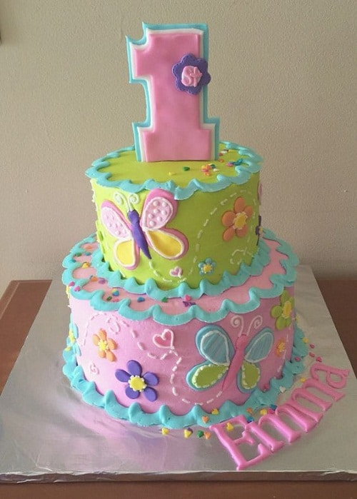 Butterflies and Flowers Birthday Cakes for Girls