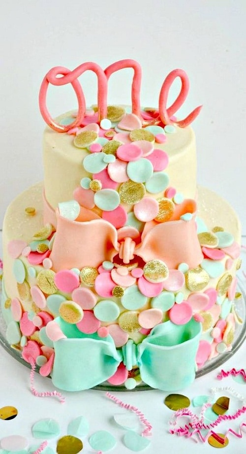 Confetti-Themed Birthday Cakes for Girls