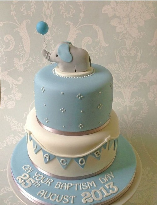 Elephant Holding a Balloon Christening Cakes for Boys