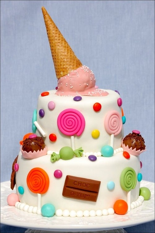 Lollipops, Ice Cream and Cupcakes Birthday Cakes for Girls