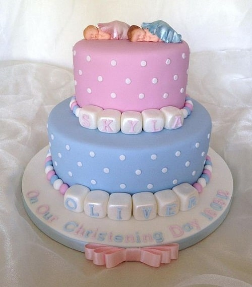 Sleeping Baby Christening Cakes for Twins