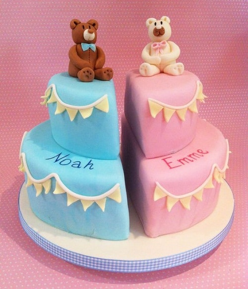 White and Brown Bear Christening Cakes for Twins