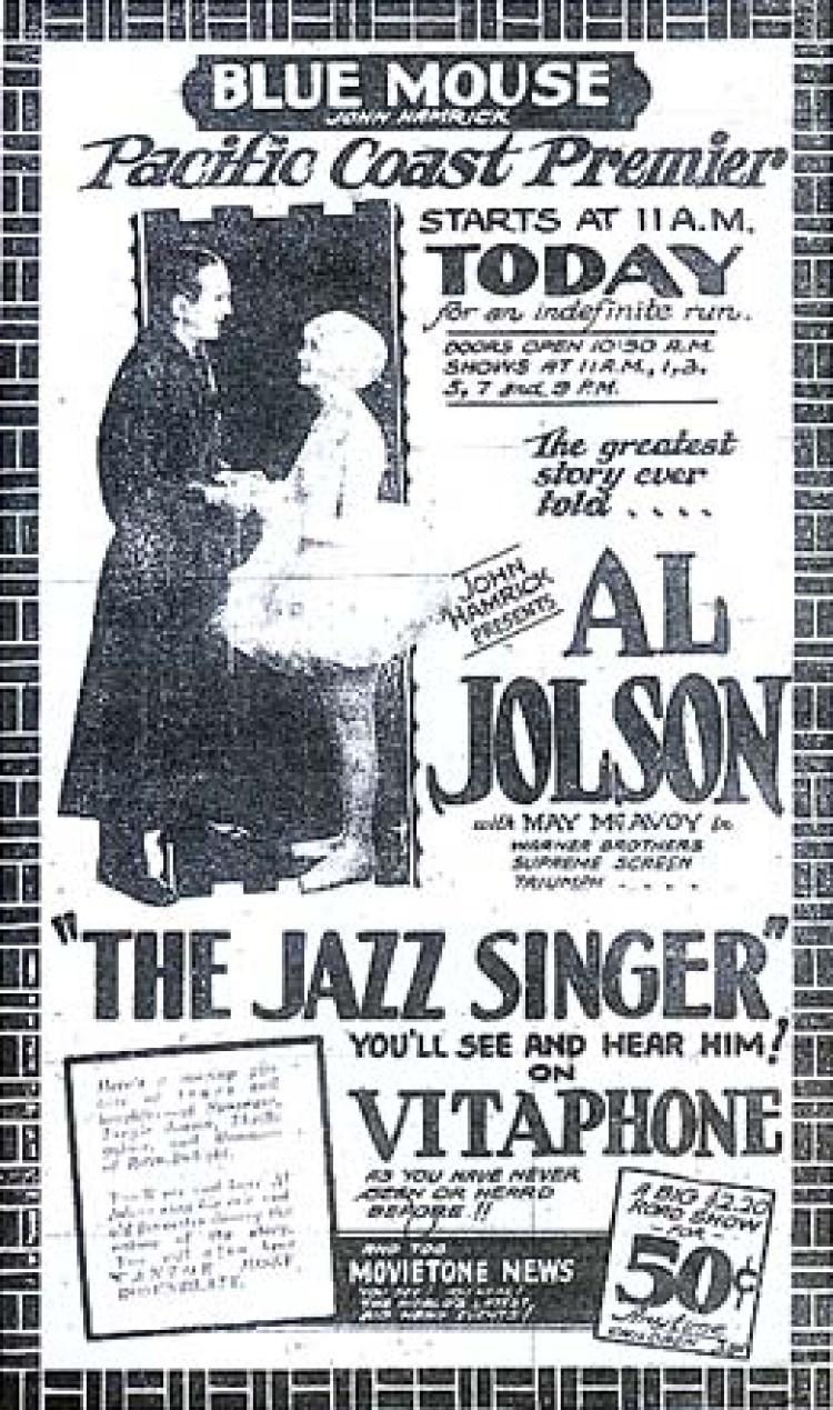 geschiedenis van de bioscoop - jazz singer