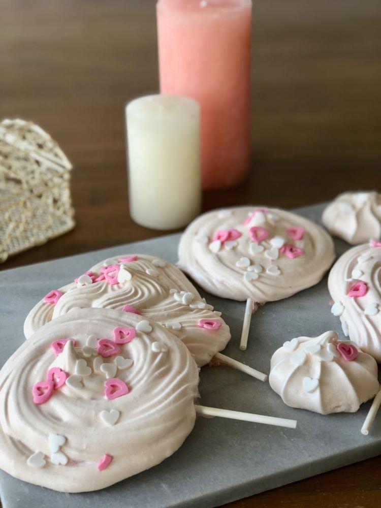 roze meringue lollies