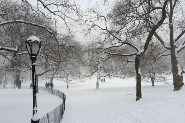 Romantisch: ein Spaziergang durch den verschneiten Central Park