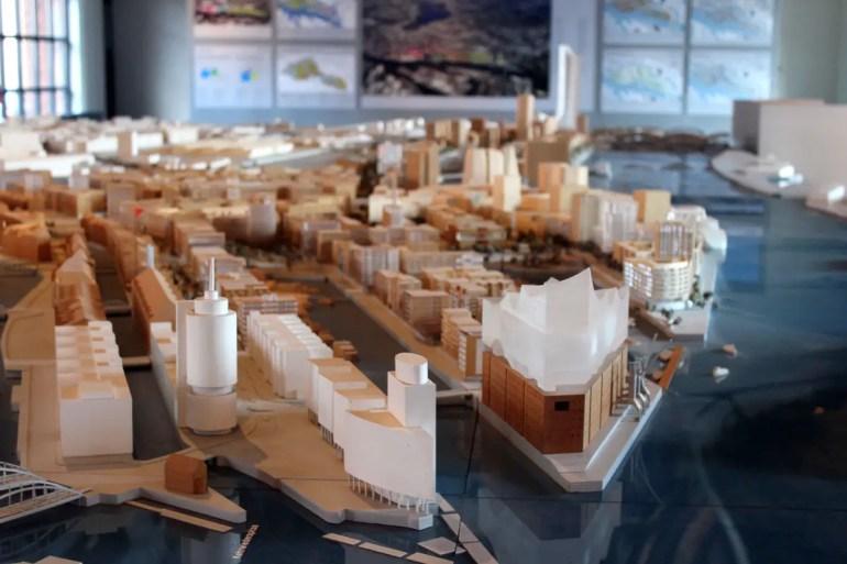 Ein Modell zeigt einen Überblick der gesamten HafenCity