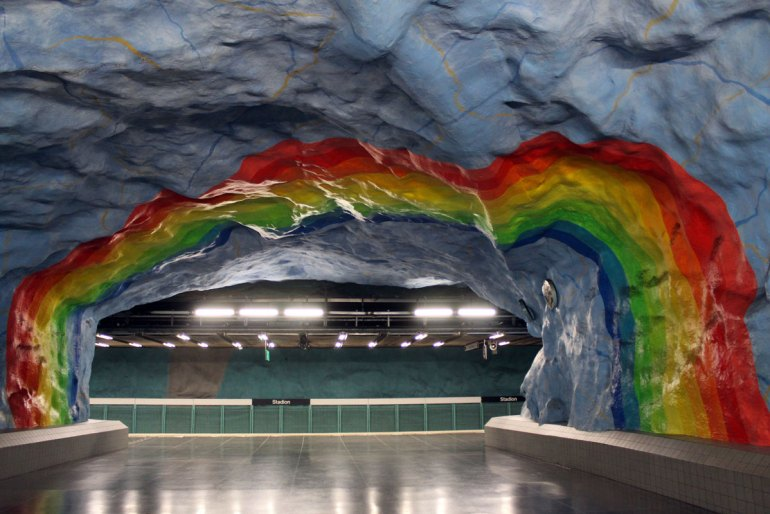 Kunst in der U-Bahn, hier an der Station Stadion