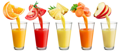 fresh juice pouring from fruit