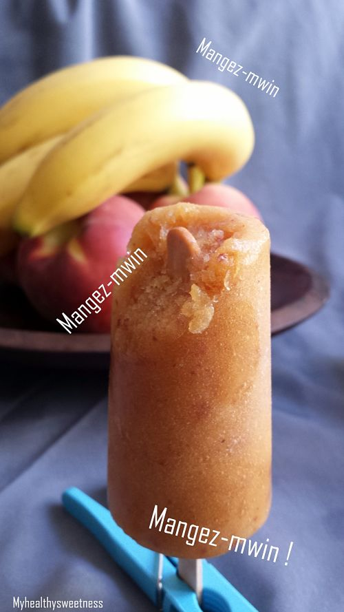 glace smoothie pêche-banane