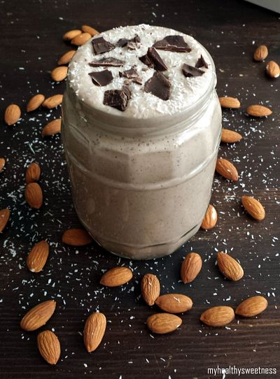 smoothie avoine, amande, noix de coco