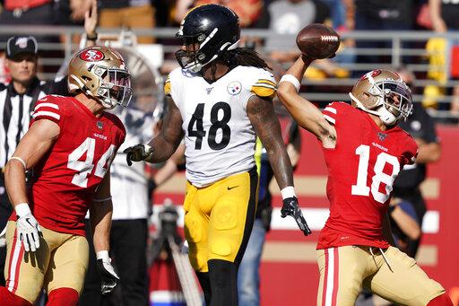 buy popular fb31c cd569 Sloppy 49ers beat Steelers 24-20 on late Garoppolo TD pass ...