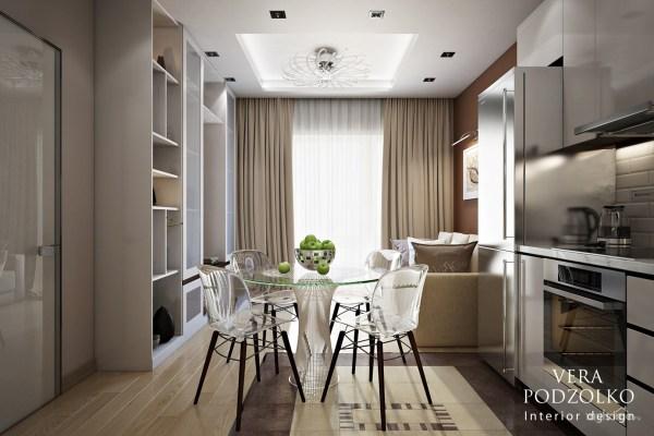 Проект: Квартира в Сколково. Кухня-гостиная, 18 кв.м ...