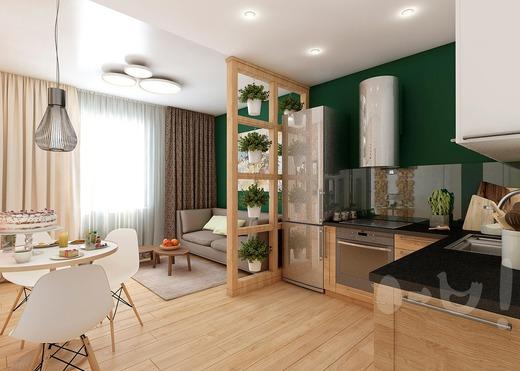 "Кухня-гостиная ""Эко стиль"" 17,3 м. Кв. — Интерьеры квартир ..."