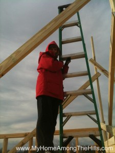 Getting ready to raise rafters on our small cabin