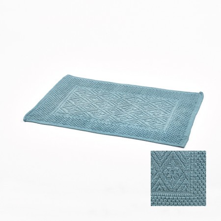 tapis de bain bleu jacquard 50x80cm simla