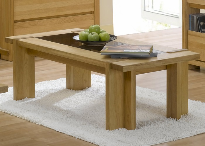 Oak Rectangular Coffee Table with Glass