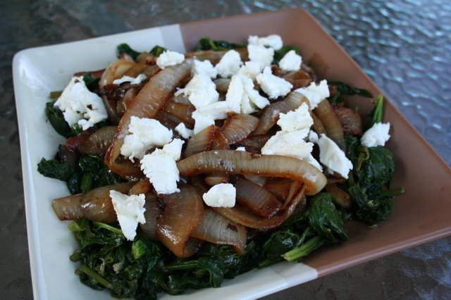 Sauteed Spinach with Carmelized Onions and Robiola Goat Cheese