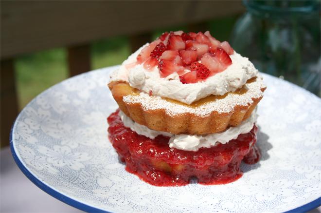 Naturally Sweetened Lemon Cake with Strawberry Glaze and Italian Meringue Icing