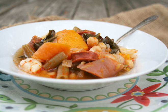 A Comforting Fall Stew: Garbanzos, Pumpkin, and Spanish Chorizo Sausage