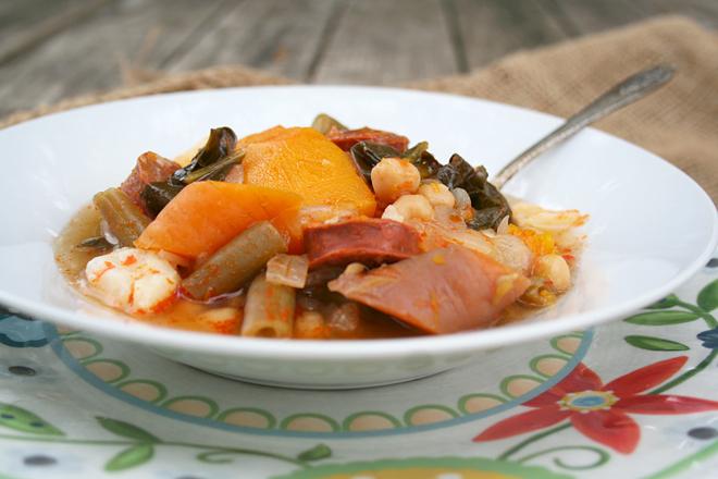 A Comforting Fall Stew: Garbanzos, Pumpkin, and Spanish Chorizo Sausage