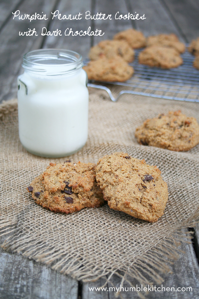 Whole Wheat Pumpkin Peanut Butter Cookies with Dark Chocolate | myhumblekitchen.com