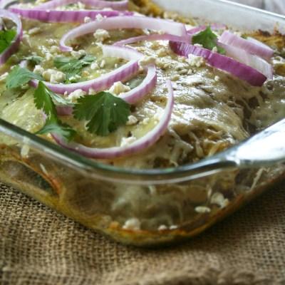A Simple, Chicken and Spinach, Green Enchilada Casserole | myhumblekitchen.com