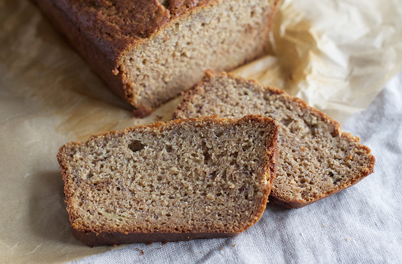 Honey Sweetened, Whole Wheat Einkorn Banana Bread