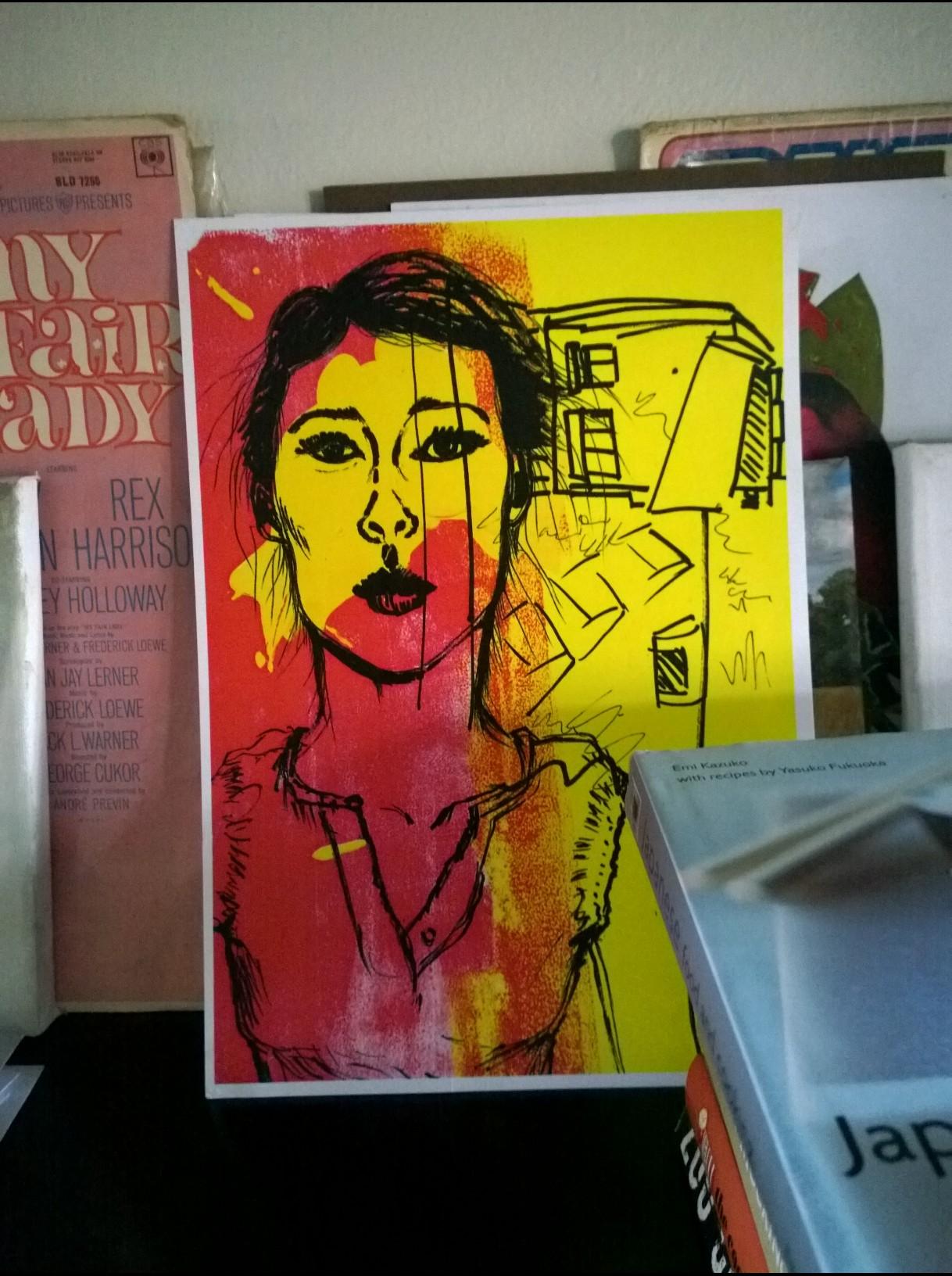Pink & Yellow awaiting framing