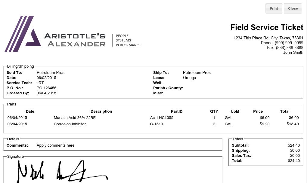 Iliad Field Ops Field Ticketing Application Print Preview