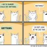 cat comic hungry food