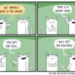 cat comic toy drive golf