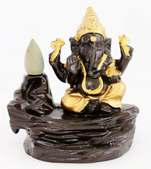 Lucky Ganesh gold backflow incense holder ash catcher free incense