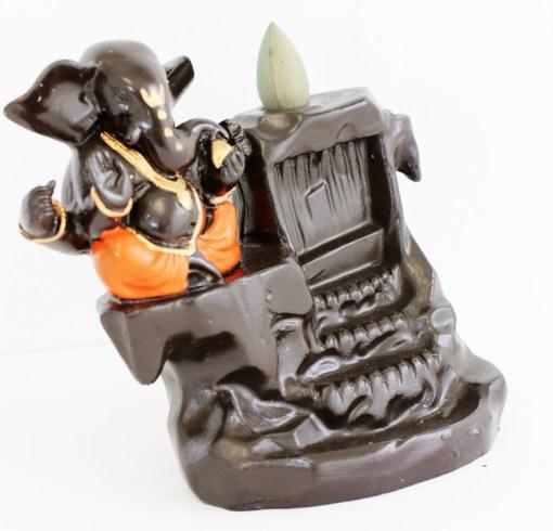 Lucky Ganesh orange backflow incense holder ash catcher free incense1
