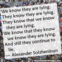 Alexander Solzhenitsyn: Still They Continue to Lie