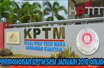 Permohonan KPTM Sesi Januari 2018 Online