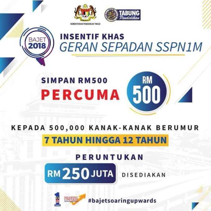 Permohonan Insentif Geran Sepadan SSPN1M Percuma RM500 Tahun 2018