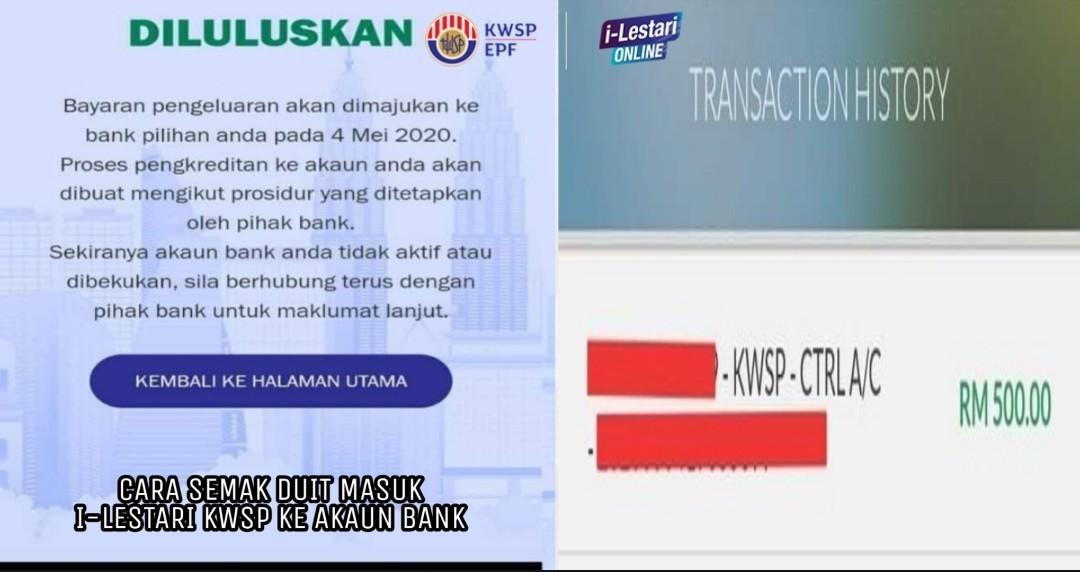 I Lestari Online Semak Status Permohonan Pengeluaran Akaun 2 Kwsp