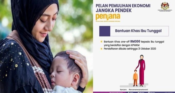Permohonan Bantuan Khas Ibu Tunggal RM300 Online PENJANA (Semakan Status)