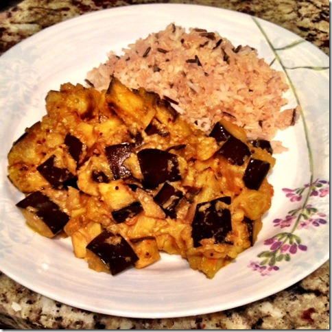 Eggplant shak and rice