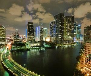 Brickell in Miami, Florida at night