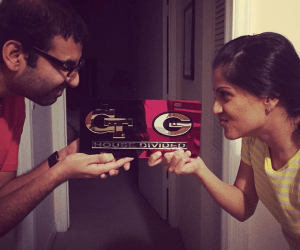 Georgia Tech and UGA house divided license plate
