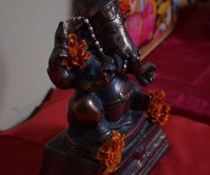 Lord Ganesh murti at engagement pooja