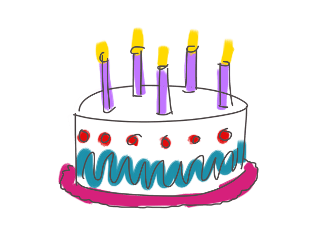 Birthday cake with five candles
