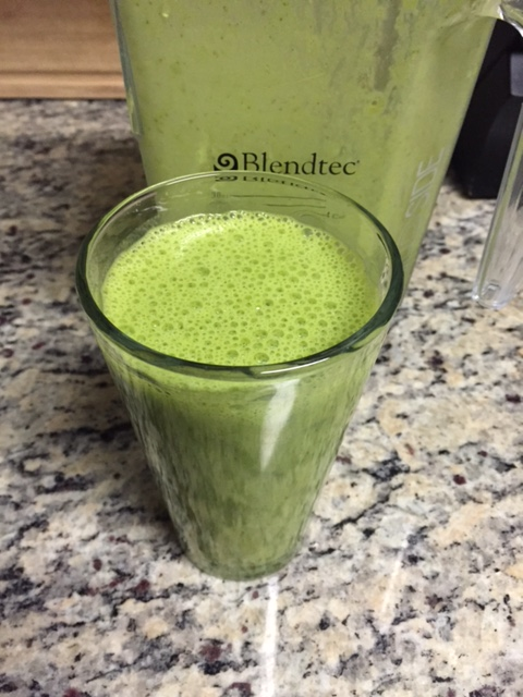 Morning breakfast protein shake with spinach