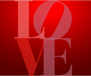 Red love sign stacked