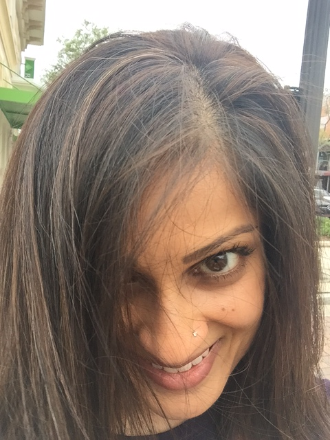 Brown highlights in dark hair