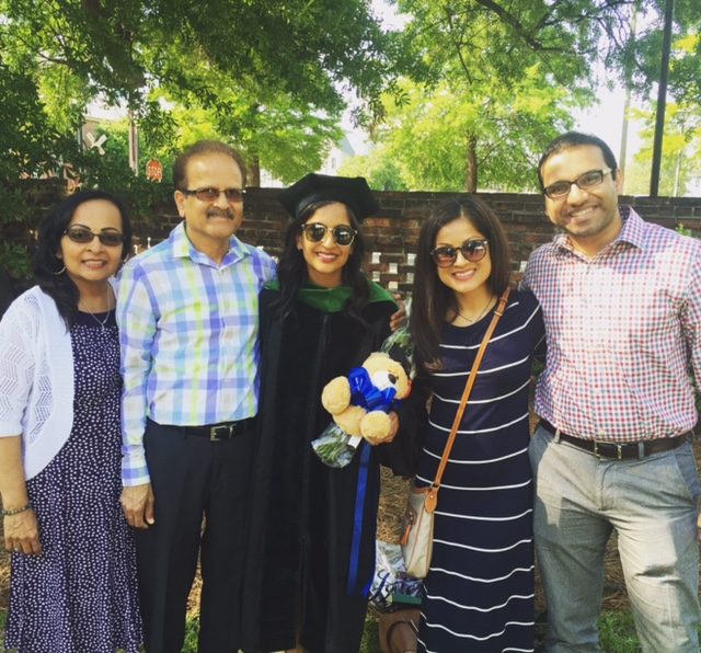 Proud family at medical school graduation